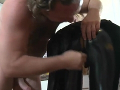 Hot blondie in latex pants is sucking a nice cock