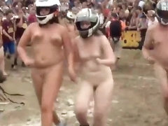 Silly nudists in a naked race