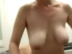 Floppy tit japanese milf creampied in bathroom