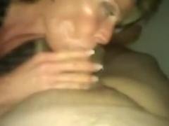 Mature slut gives a blowjob on video