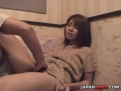 Japanese cutie gets finger stabbed while blowing a stiff nimrod