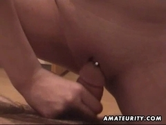 Bulky dilettante girlfriend sucks and bonks with cum