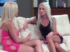 Two blonde babes in a lusty lesbian sex scene
