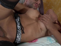 Horny red tranny gets drilled