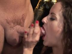 Incredible pornstar in horny lingerie, threesome sex scene