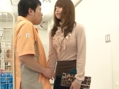 Akiho Yoshizawa rides hard cock gets a wad of cum on her ass