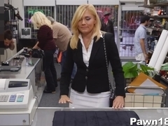 Hot Blonde MILF Fucks for Money at Pawn Shop