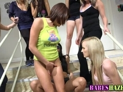Teen pounded by strapon