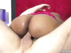 Ebony coed Sunshine Hadah takes a stiff white cock