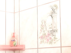 Busty glamour lesbians fingerfuck in shower