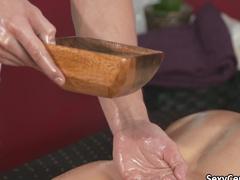 Blonde milf fucked after an oriental massage