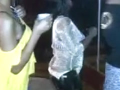 Girl in all black club pole dance