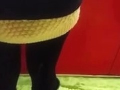 Cum on candid girl in black tights