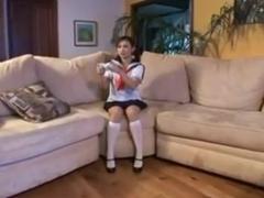 Asian schoolgirl gets her cunt licked thru her panties