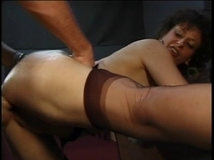 Older hottie group-fucked hard