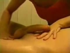 slut gives wet BABYOIL HJ and PANTY JOB