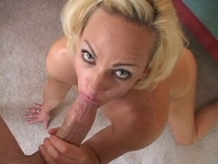 Lascivious blonde MILF on her knees sucking young cock