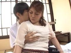 Hot mature and busty Asian babe Tomori Tokine tit fucks
