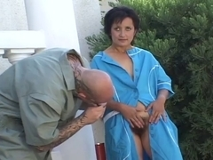 Sexually Excited older opening her hirsute fur pie for fucking