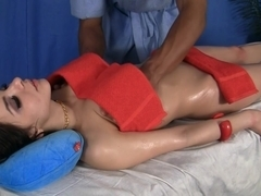 A massage youthful brunette hair drilled in all holes