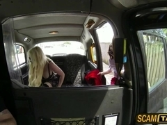 Damn two gorgeous horny hot sluts goes wild hot threesome sex inside the taxi