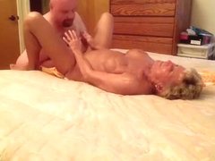 Fat husband gets his cock sucked and cowgirl fucked and eats out his wife's shaved pussy on the bed