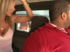 Hot blonde Bree Olson gives blowjob in the van