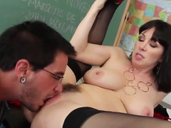 Mature teacher RayVeness gets her tasty clam eaten out by her student Dane Cross
