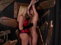 Alysa and Kathia Nobili in hot bondage game