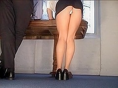 Hawt Secretary Flashing Darksome Mini White Pants Upskirt
