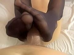 Black Nails Stockings Footjob Cumshot