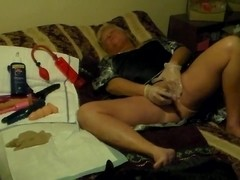 Mistress Wife Masturbates as sissy watches