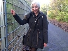 I suck cock in a park in my amateur blonde video clip