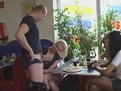 Two Filthy German girls Garnish Their Pizzas With Fresh Cum