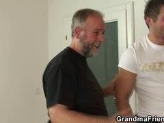 Naughty granny enjoys fucking 2 schlongs