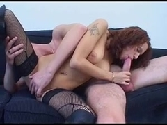 Redhead babe gets creampie overload in the Russian porn
