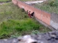 immature couple caught fucking outside