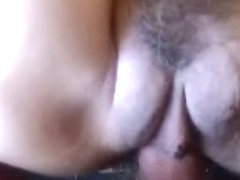 Stiff cock in mature mink