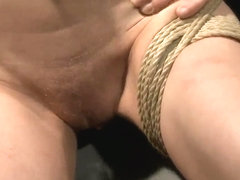 Short haired blonde Chicky Clarissa bondaged and fucked by neighbourhood boyfriend