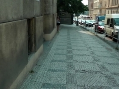 Fuck young brunette in Prague in the street