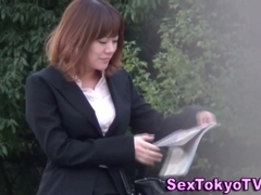 Asian shows hairy pussy
