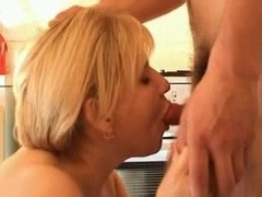 Sweet plump mom with saggy giant boobs & guy