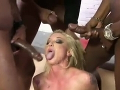 Blonde gets facials after a gangbang with black guys