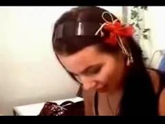 Cute webcam girl strips