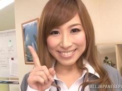 Beautiful Japanese AV models are hot office chicks pleasing boss