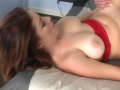 Redhead renting an apartment with big tits and pussy