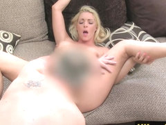 Squirting casting model toying pierced clit