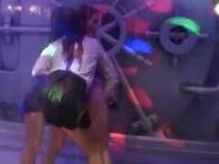 Sexy lesbian pornstars fuck in a club