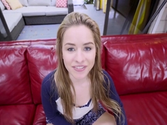 Petite teen spinner Lilly Ford moans while taking a big dick