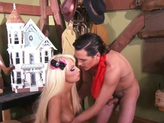 Barby-like Rikki Six shows her cunt to Tyler Nixon